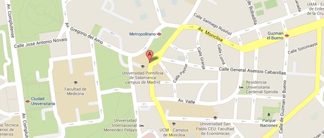 Mapa Instituto Superior de Pastoral Madrid